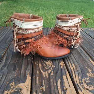 570901bf9f4 Ariat Shoes | Square Toe Upcycled Cowgirl Boots Size11 Boho Boot ...